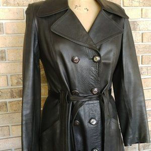Vintage Lambs Skin Leather Long Jacket Paris